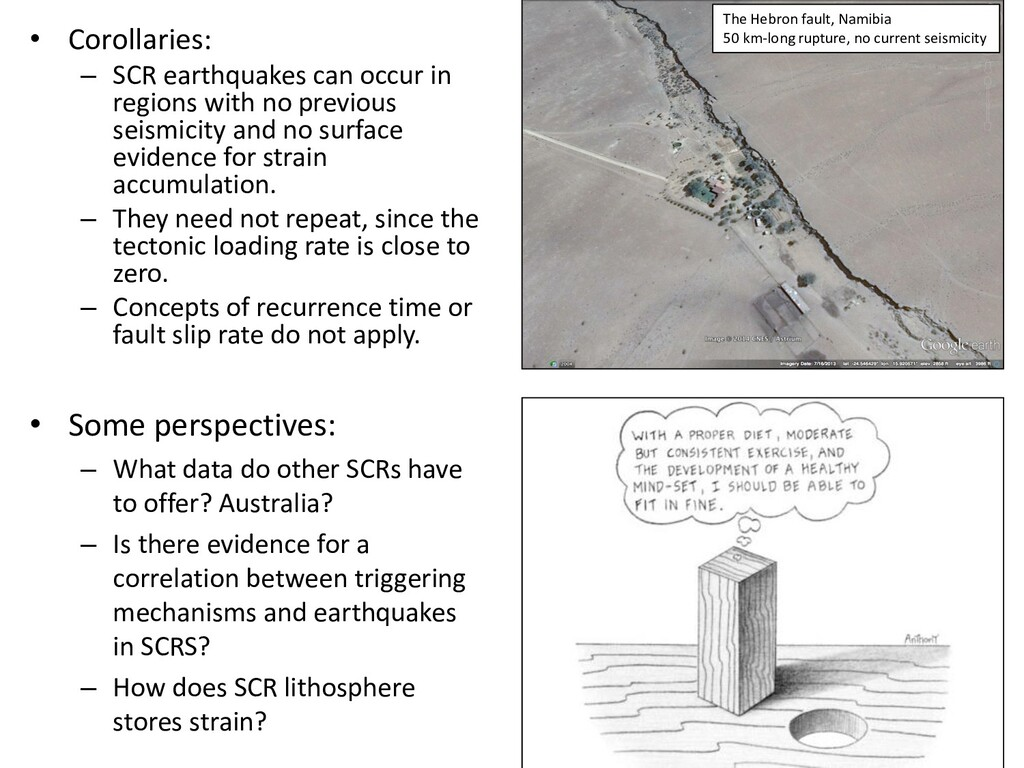 • Corollaries: – SCR earthquakes can occur in r...
