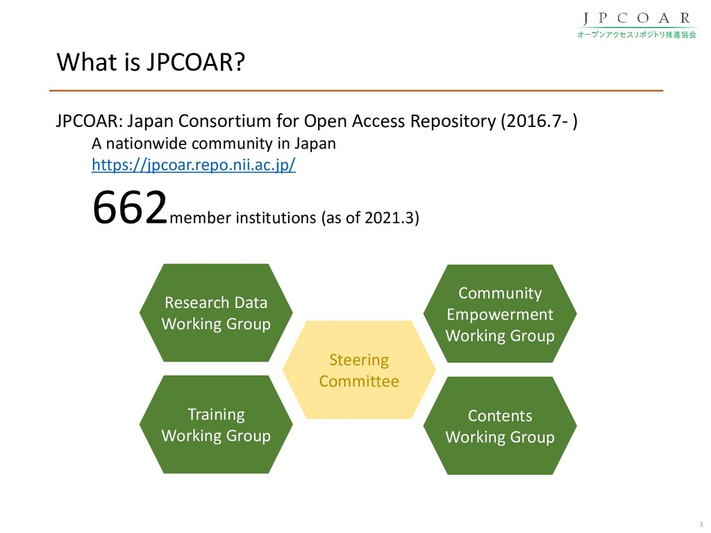 What is JPCOAR? 3 Training Working Group Commun...