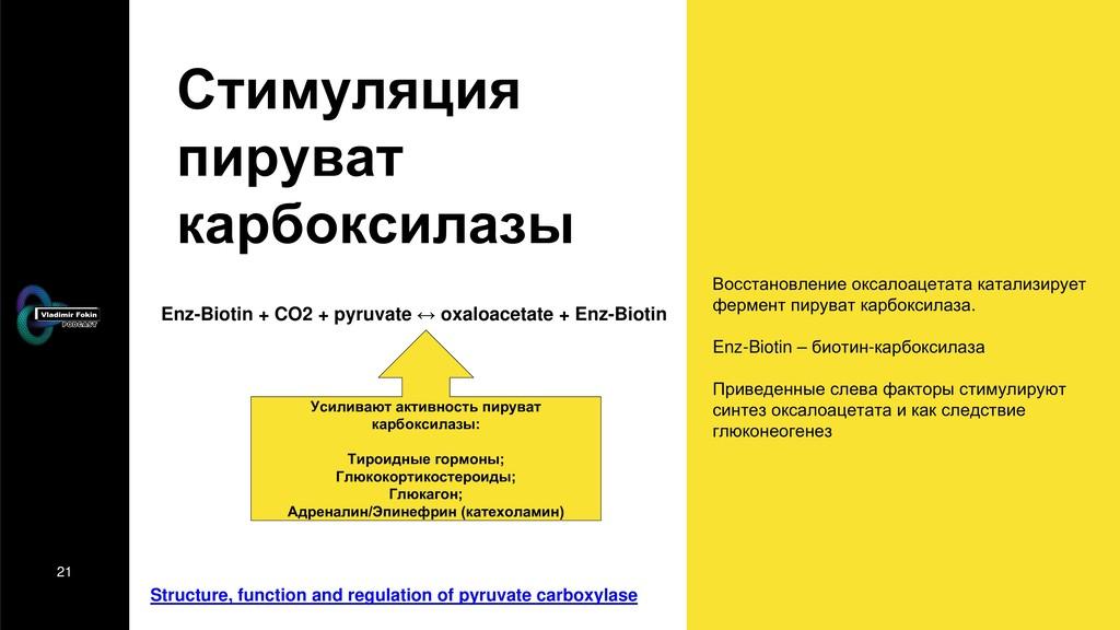 21 Стимуляция пируват карбоксилазы Восстановлен...
