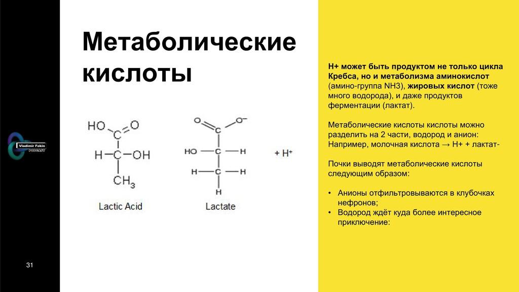 31 Метаболические кислоты H+ может быть продукт...