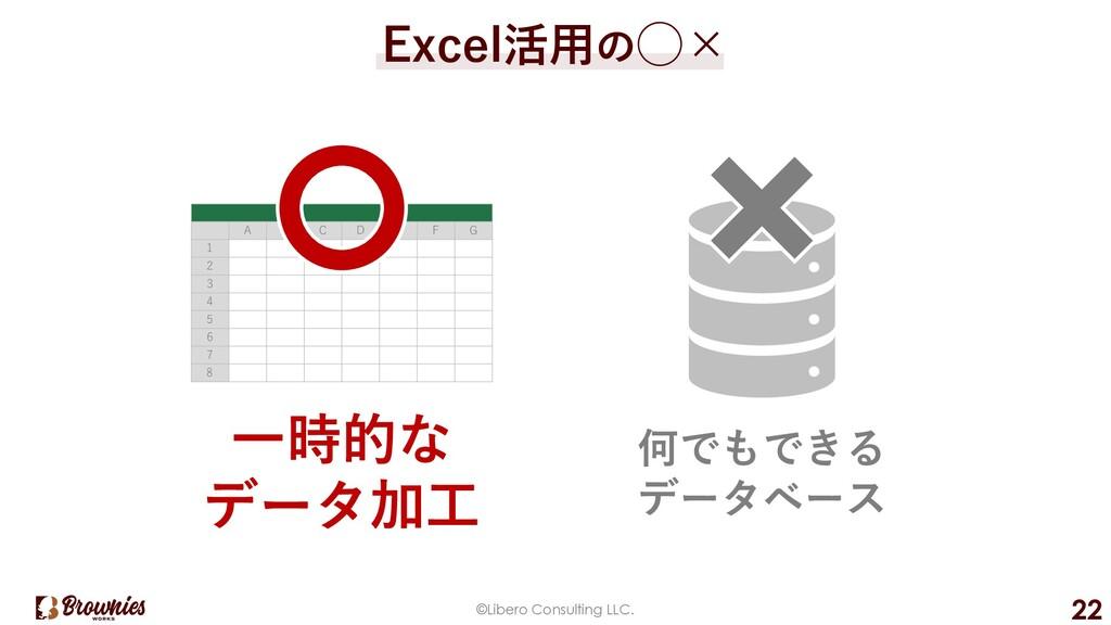 ©Libero Consulting LLC. 22 Excel活⽤の◯× A B C D E...
