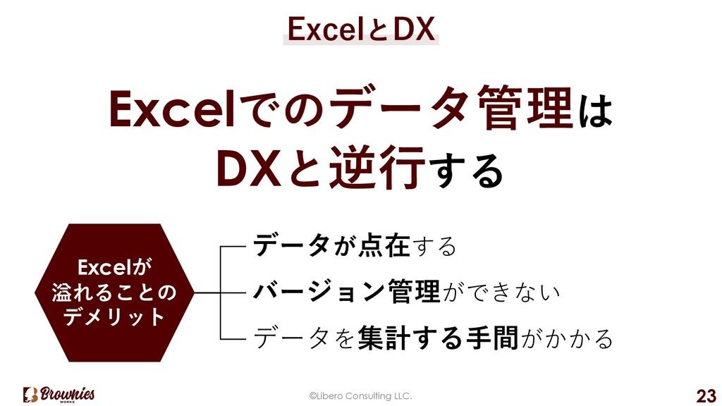 ©Libero Consulting LLC. 23 ExcelとDX Excelでのデータ管...