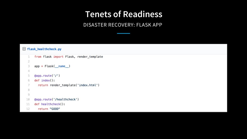 Tenets of Readiness DISASTER RECOVERY: FLASK APP
