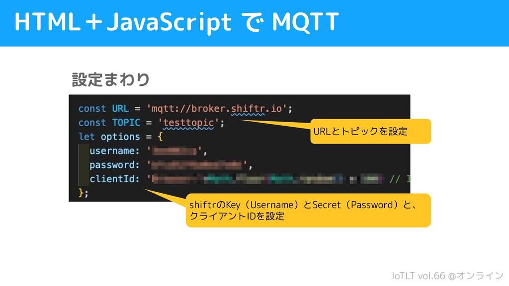 IoTLT vol.66 @オンライン HTML+JavaScript で MQTT URLと...