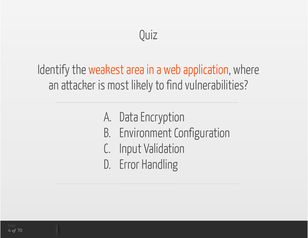 Quiz Identify the weakest area in a web applica...