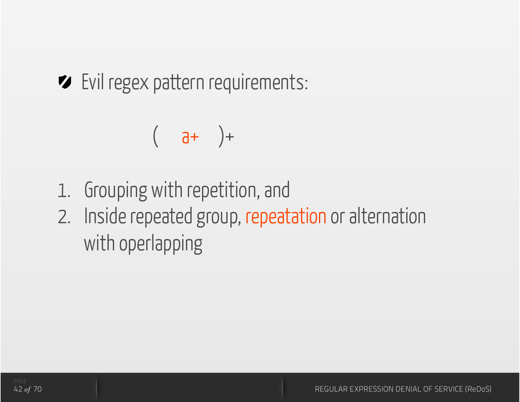 Evil regex pattern requirements: ( a+ )+ 1.  ...