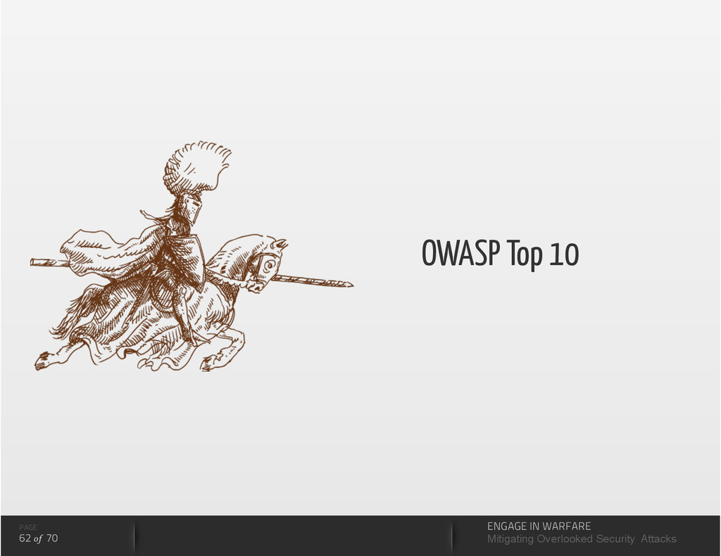 OWASP Top 10 PAGE 62 of 70 ENGAGE IN WARFARE Mi...