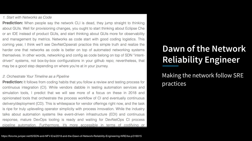 Making the network follow SRE practices Dawn of...
