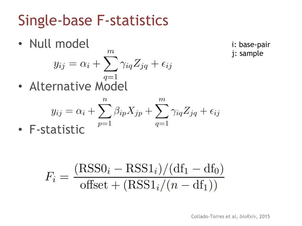 Single-base F-statistics • Null model • Alter...