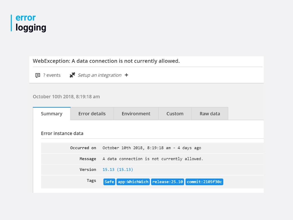 error logging