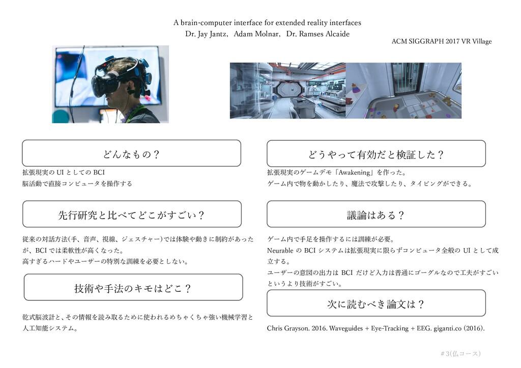 拡張現実の UI としての BCI 脳活動で直接コンピュータを操作する 従来の対話⽅法(⼿、⾳...
