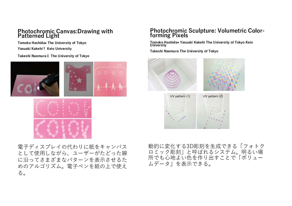 Phoがochromic Canvas:Drawing wiがh Paががerned Ligh...