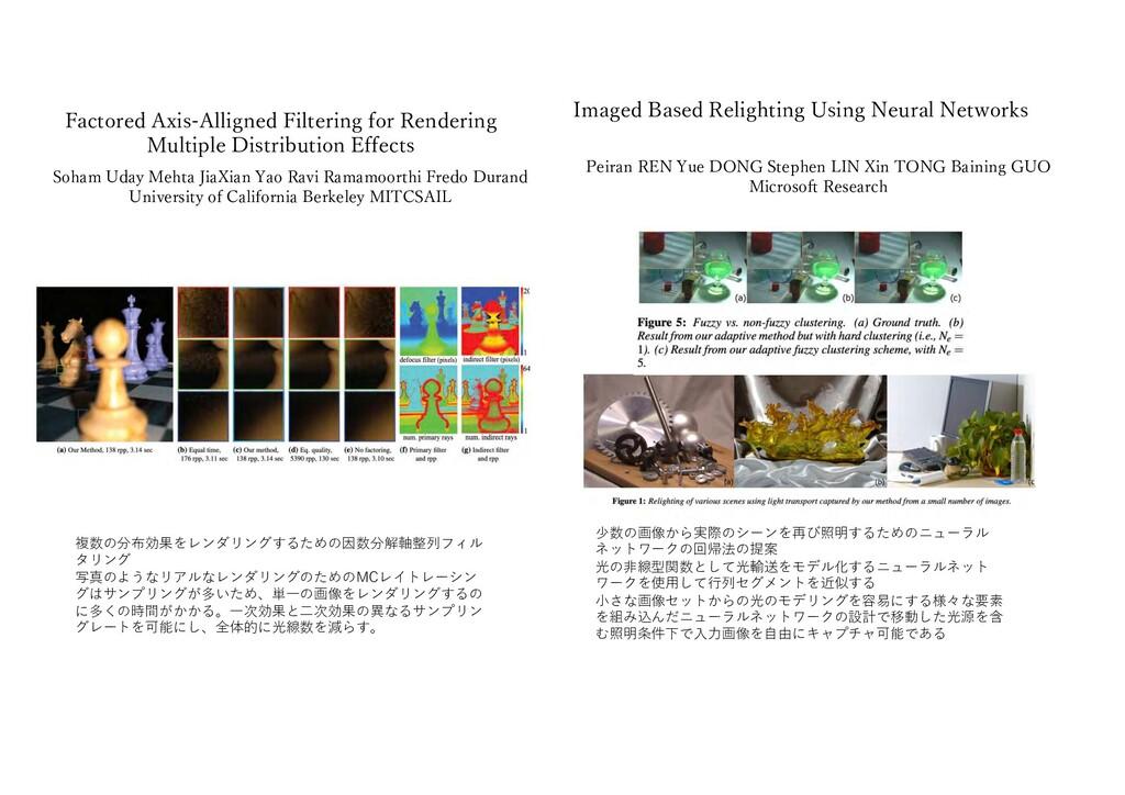 少数の画像から実際のシーンを再び照明するためのニューラル ネットワークの回帰法の提案 光の⾮線...