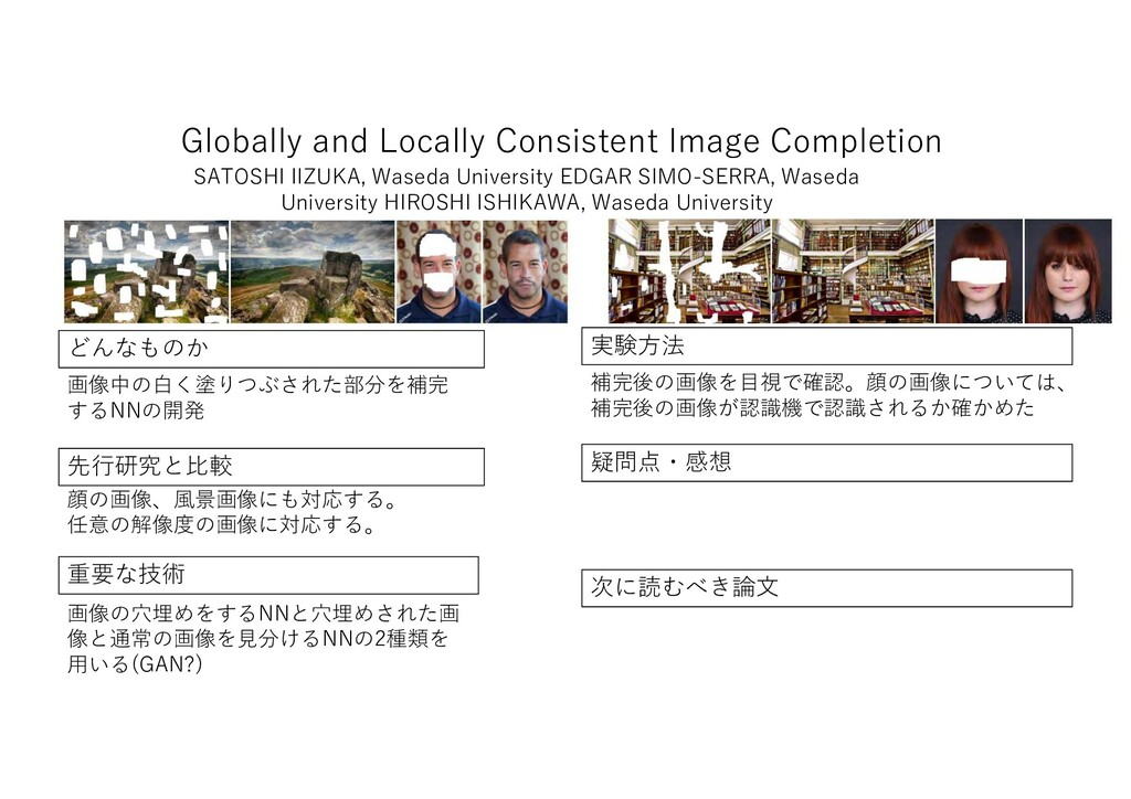 Globally and Locally Consistent Image Completio...