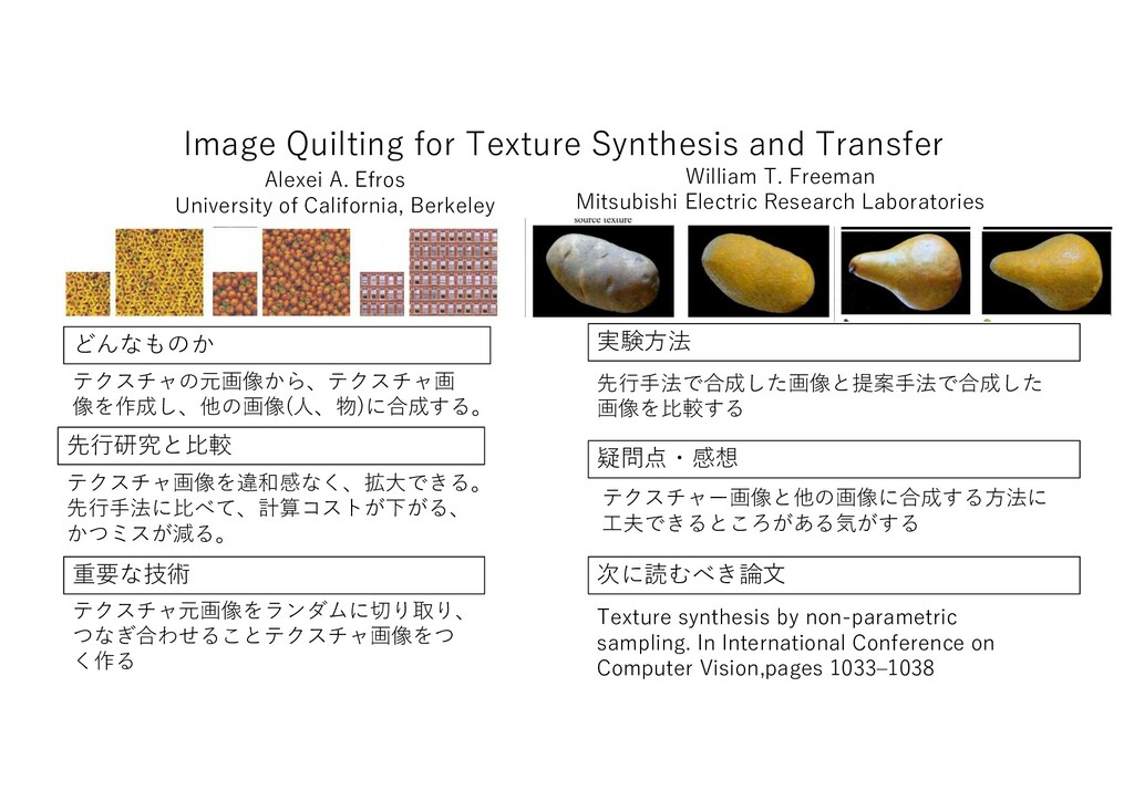 Image Quilting for Texture Synthesis and Transf...