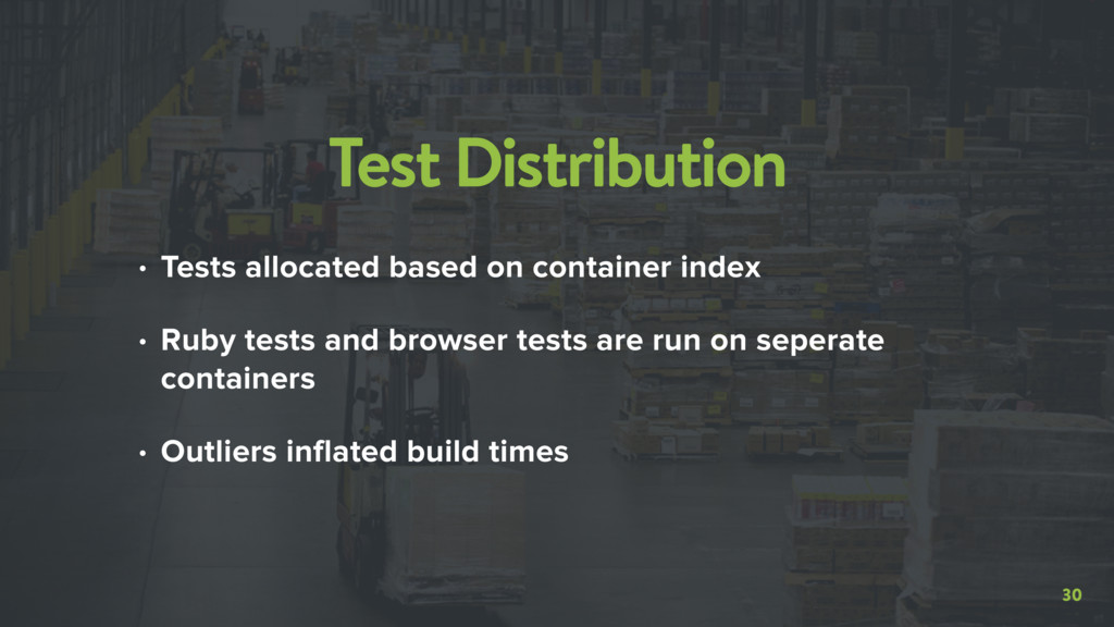 30 Test Distribution • Tests allocated based on...