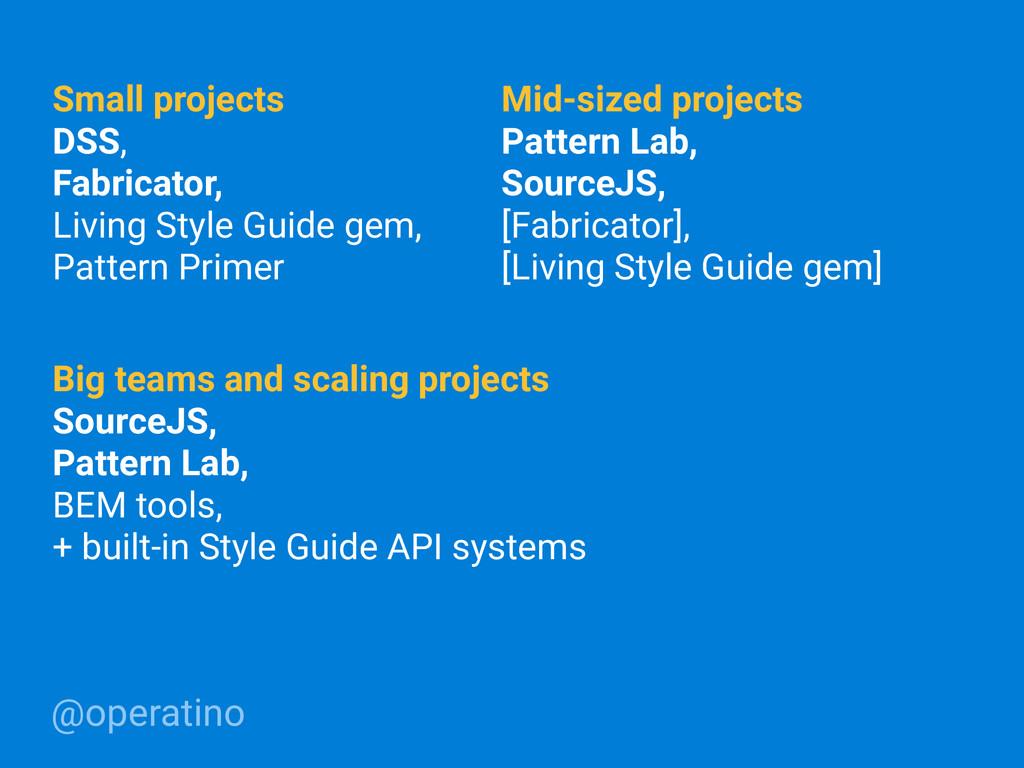 @operatino Small projects DSS, Fabricator, Livi...