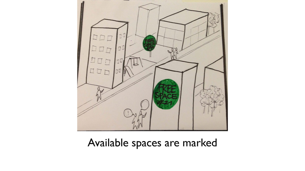 Available spaces are marked