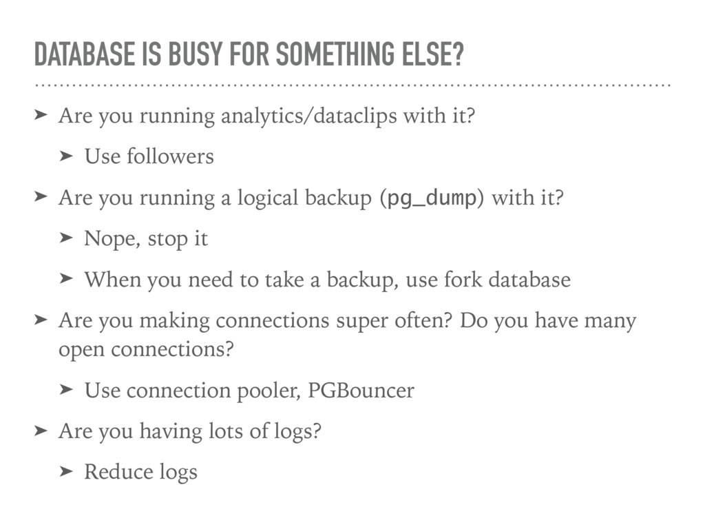 DATABASE IS BUSY FOR SOMETHING ELSE? ➤ Are you ...
