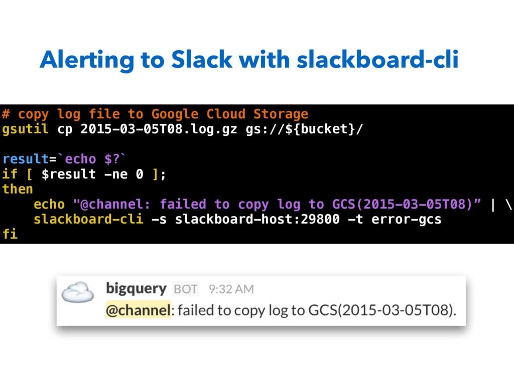 Alerting to Slack with slackboard-cli # copy lo...