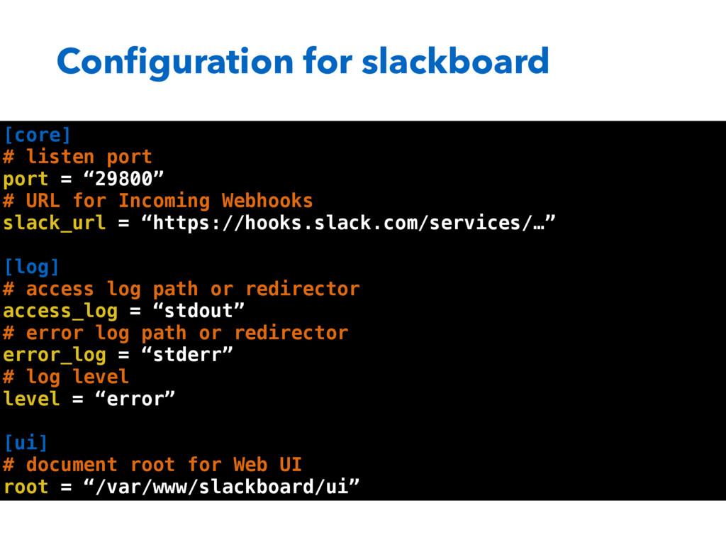 Configuration for slackboard [core] # listen por...