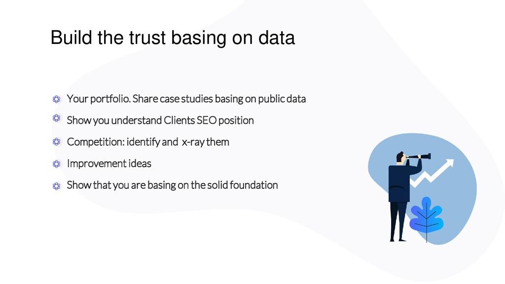 Build the trust basing on data Your portfolio. ...