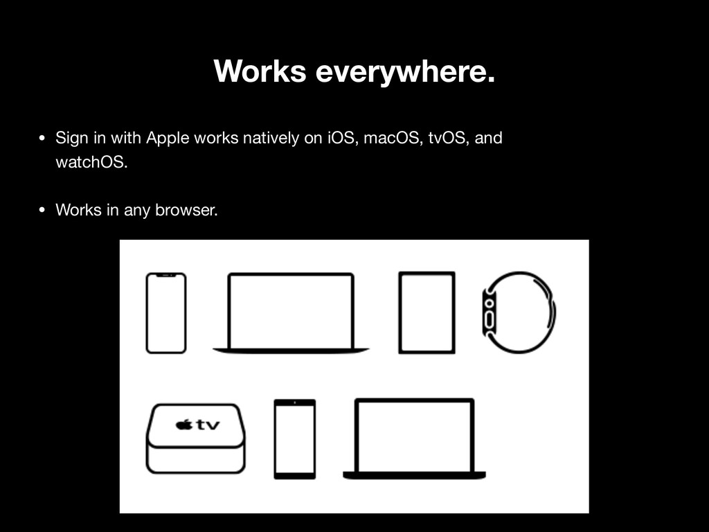 Works everywhere. • Sign in with Apple works na...