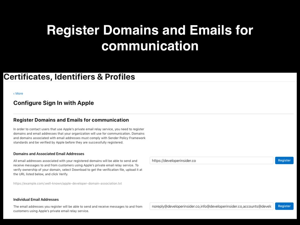 Register Domains and Emails for communication