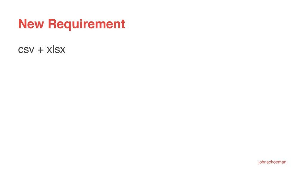 New Requirement csv + xlsx johnschoeman