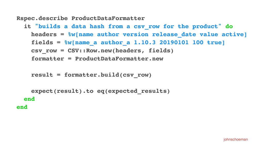"Rspec.describe ProductDataFormatter it ""builds ..."
