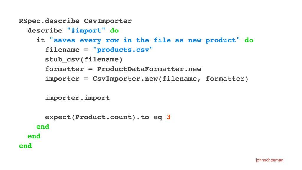 "RSpec.describe CsvImporter describe ""#import"" d..."