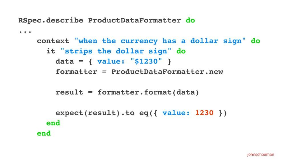 RSpec.describe ProductDataFormatter do ... cont...