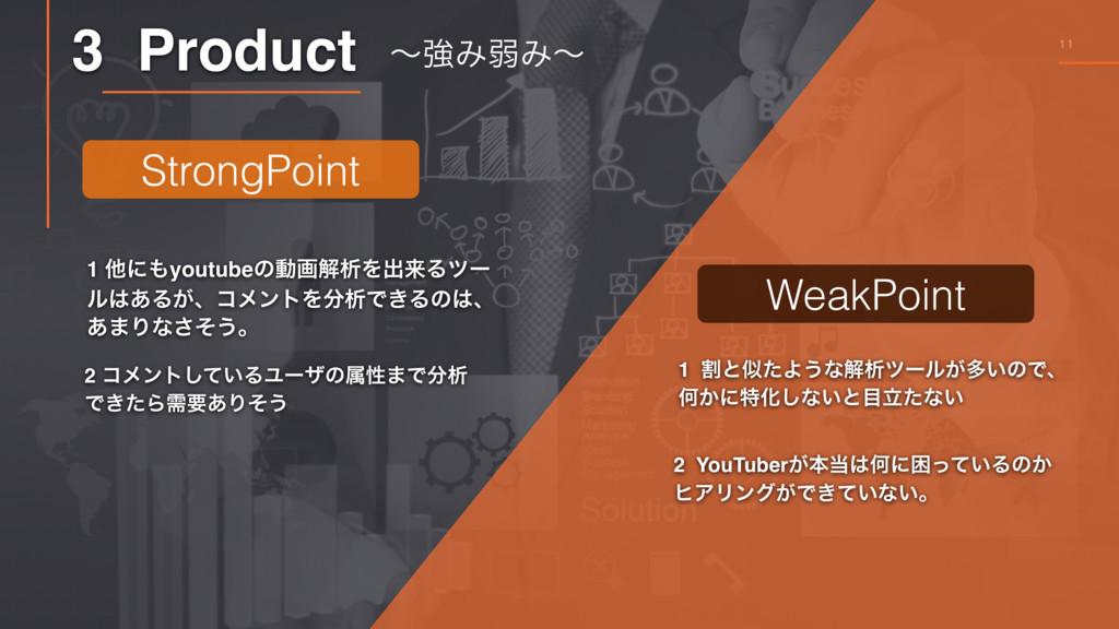 11 3 Product ʙڧΈऑΈʙ 1 ଞʹyoutubeͷಈըղੳΛग़དྷΔπʔ ϧ͋...