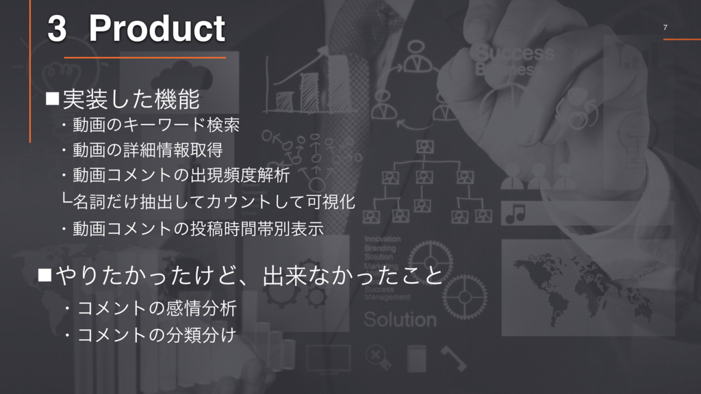 7 3 Product 䡧Γ͔͚ͨͬͨͲɺग़དྷͳ͔ͬͨ͜ͱ ɾίϝϯτͷײੳ ɾίϝϯτ...