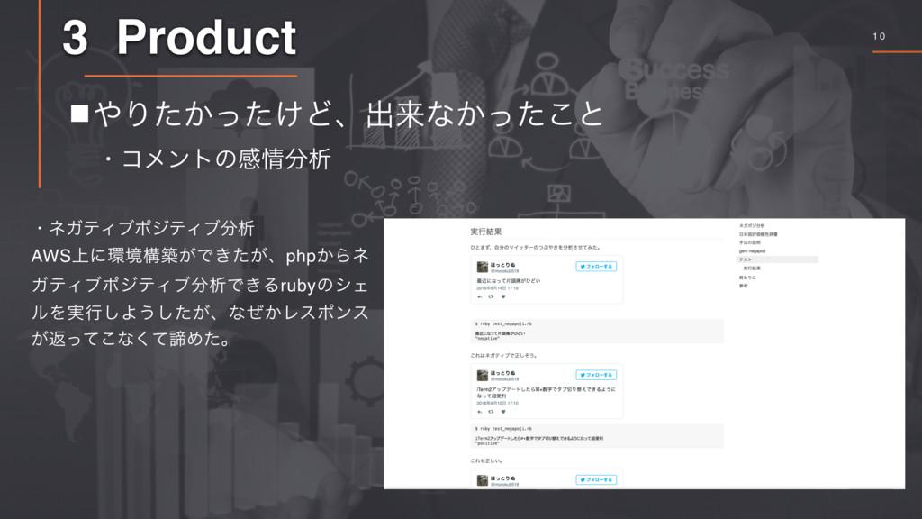 1 0 3 Product 䡧Γ͔͚ͨͬͨͲɺग़དྷͳ͔ͬͨ͜ͱ ɾίϝϯτͷײੳ ɾωΨ...