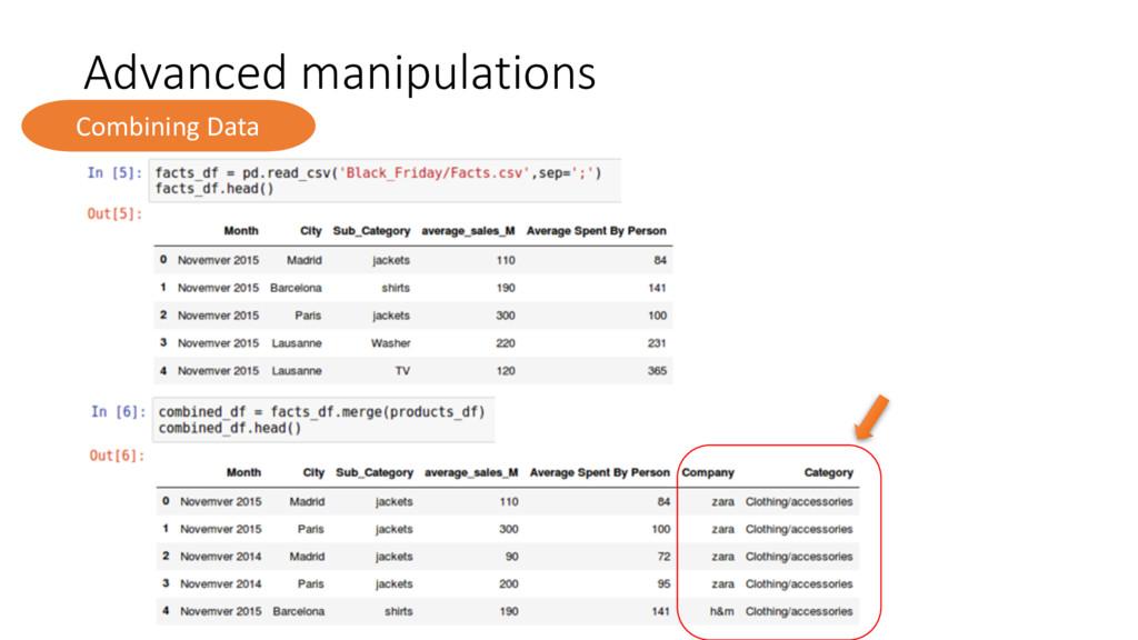 Advanced manipulations Combining Data