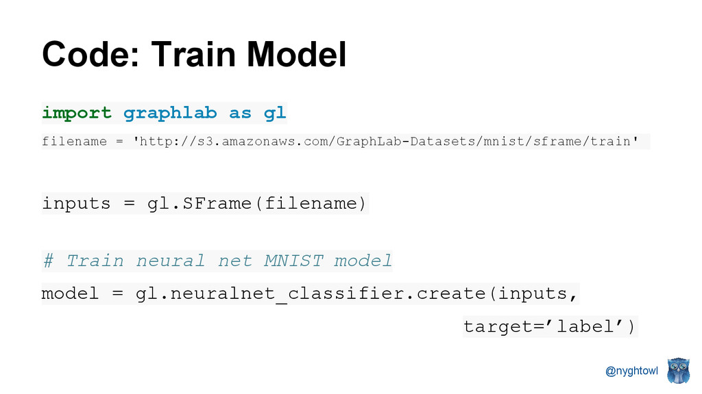 @nyghtowl Code: Train Model import graphlab as ...