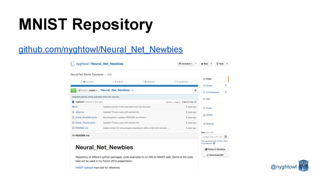 MNIST Repository github.com/nyghtowl/Neural_Net...