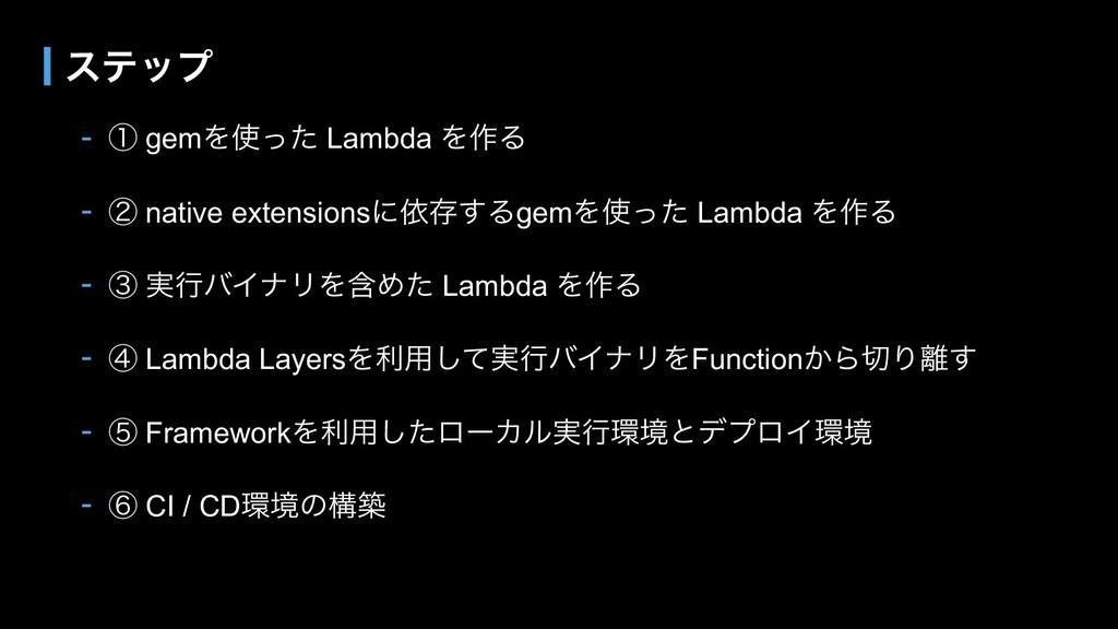 - ᶃ gemΛͬͨ Lambda Λ࡞Δ - ᶄ native extensionsʹґଘ...