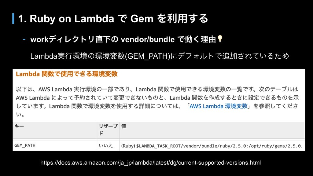 - workσΟϨΫτϦԼͷ vendor/bundle Ͱಈ͘ཧ༝ Lambda࣮ߦڥ...