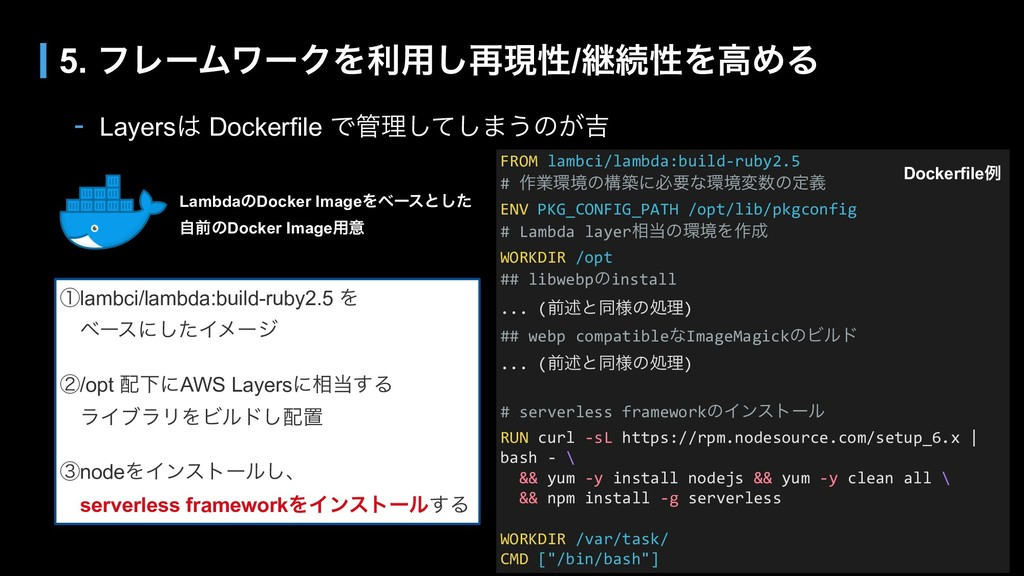 - Layers Dockerfile Ͱཧͯ͠͠·͏ͷ͕٢ 5. ϑϨʔϜϫʔΫΛར༻͠...