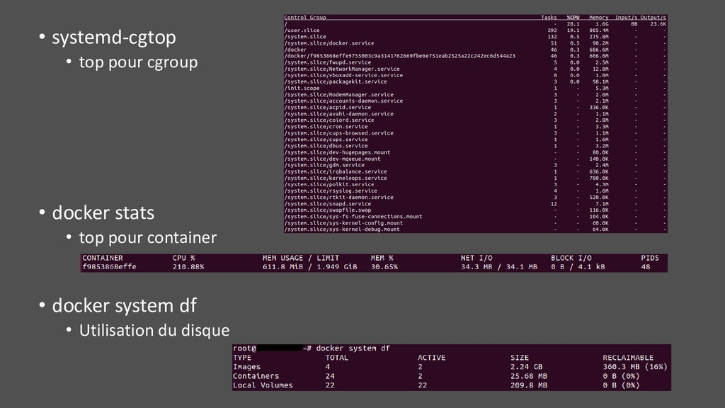 • systemd-cgtop • top pour cgroup • docker stat...