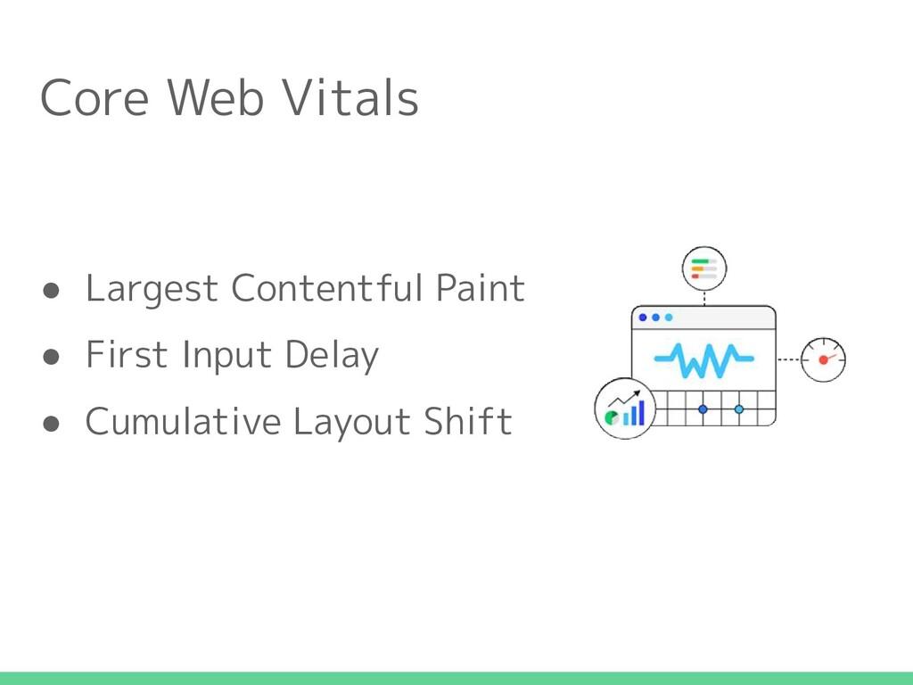 Core Web Vitals ● Largest Contentful Paint ● Fi...