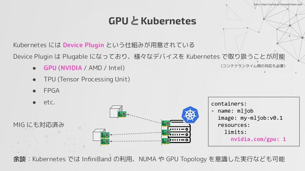GPU と Kubernetes Kubernetes には Device Plugin とい...