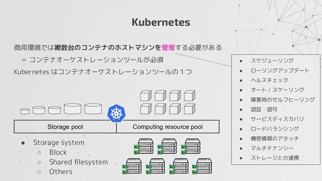 Kubernetes 商用環境では複数台のコンテナのホストマシンを管理する必要がある  = コ...