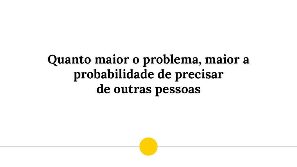 Quanto maior o problema, maior a probabilidade ...