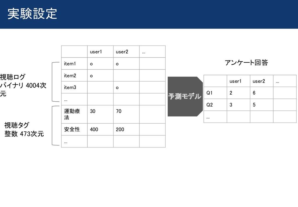 実験設定  user1 user2 ... item1 o o  item2...