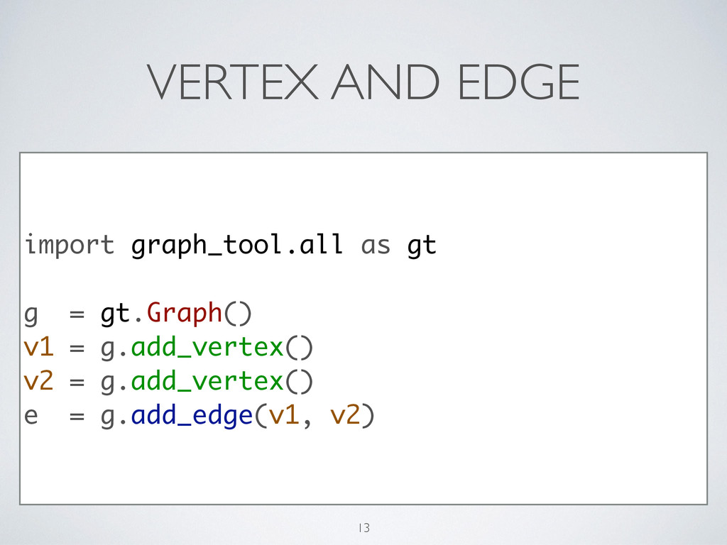 VERTEX AND EDGE import graph_tool.all as gt ! g...