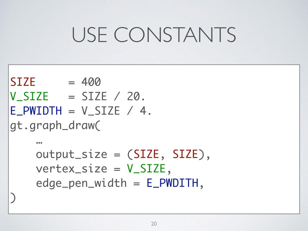 USE CONSTANTS SIZE = 400 V_SIZE = SIZE / 20. E_...