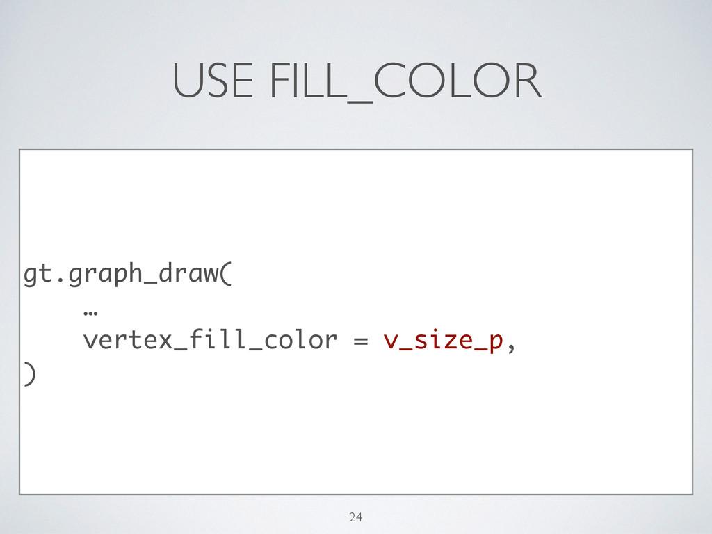 USE FILL_COLOR gt.graph_draw( … vertex_fill_col...